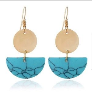 Turquoise Marble  with Gold Accent Dangle Earrings